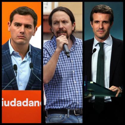 Albert Rivera, Pablo Iglesias y Pablo Casado.