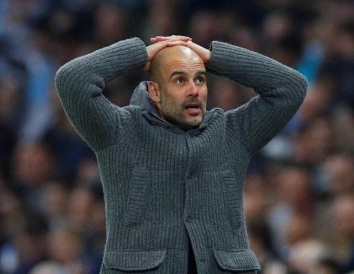 El entrenador del Manchester City, Pep Guardiola, reacciona durante el partido ante el Tottenham Hotspur en los cuartos de final de la Champions League.