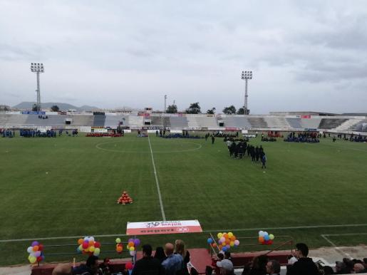 Momento de la presentación de los equipos que participan en la Copa Mallorca de fútbol base.