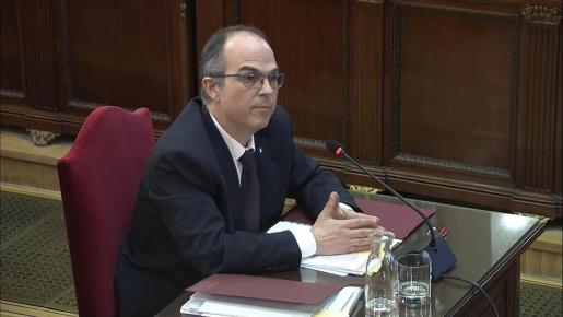 Captura de la señal institucional del Tribunal Supremo con la declaración del exconseller de Presidencia Jordi Turull en el juicio del 'procés'.