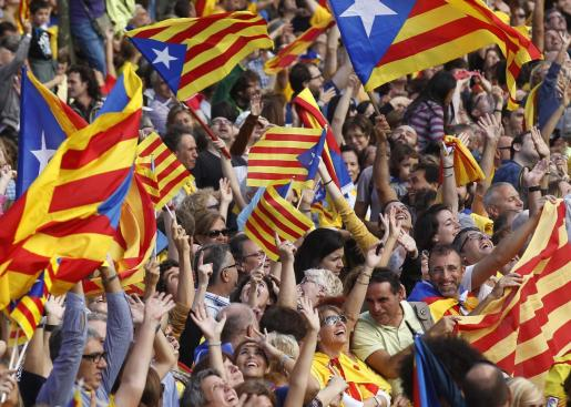 Imagen de archivo de una manifestación en defensa de la independencia de Cataluña.