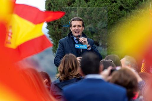 El presidente del PP y candidato a la Presidencia del Gobierno, Pablo Casado, durante su participación en un acto público celebrado este domingo en Toledo.