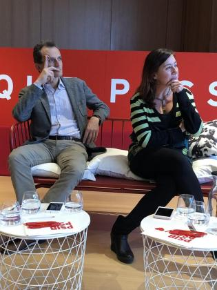 El ministro Pedro Duque y la presidenta Armengol, este lunes por la tarde.