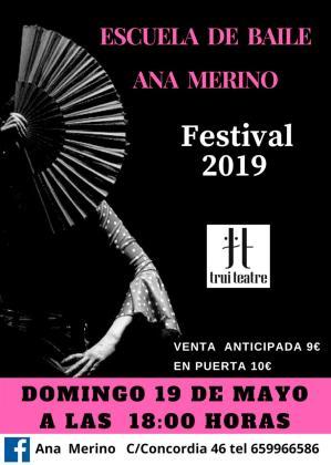 Cartel del Festival 2019 de danza de la Escuela de Baile Ana Merino.
