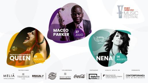 Cartel del VII Port Adriano Music Festival con algunos de los conciertos.