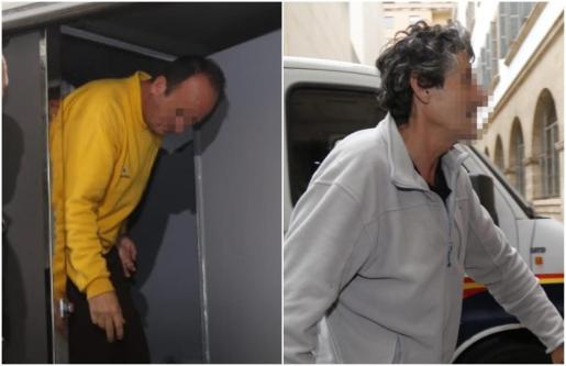 Los dos presuntos pirómanos de Palma salen del furgón que les ha trasladado este jueves al juzgado de guardia.