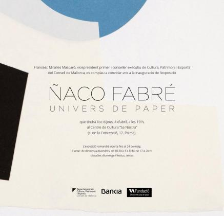 Cartel de la inauguración de la exposición de Ñaco Fabré.