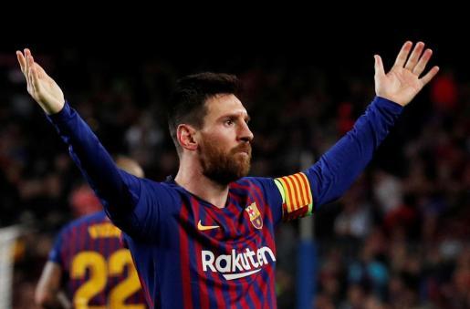 Leo Messi celebra el tecer gol del Barcelona frente al Liverpool.