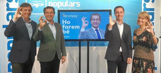 Mateo Isern, Gabriel Company, Llorenç Galmés y Rosa Estaràs, en la presentación del lema de campaña, 'Lo haremos bien'.