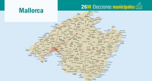 Mapa de Mallorca.