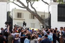FILE PHOTO: Venezuelan opposition leader Leopoldo Lopez talks to the media at the residence of the Spanish ambassador in Caracas