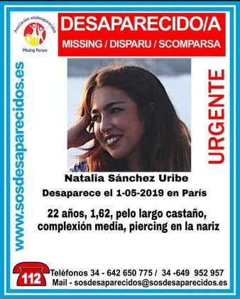 Imagen que han difundido para ayudar a localizar a Natalia Sánchez Uribe.