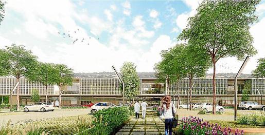 Reproducción de la fachada del futuro hospital de Felanitx.