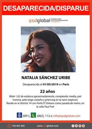 Cartel de la Fundación QSD de la desaparición de Natalia Sánchez Uribe.