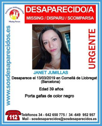 Cartel de la desaparición de Janet Jumillas.