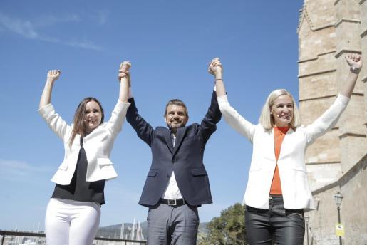 Beatriz Camiña, Marc Pérez-Ribas y Eva Pomar, candidatos de Ciudadanos en las elecciones del 26 de mayo.
