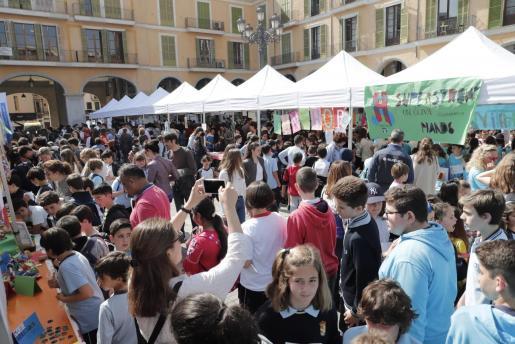 Casi un millar de alumnos participa este miércoles en el mercado solidario ICAPE.