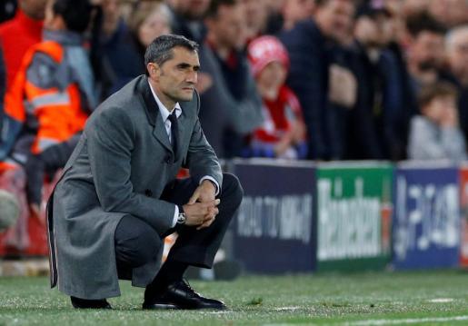 Ernesto Valverde, en una imagen captada en Anfield el pasado miércoles.