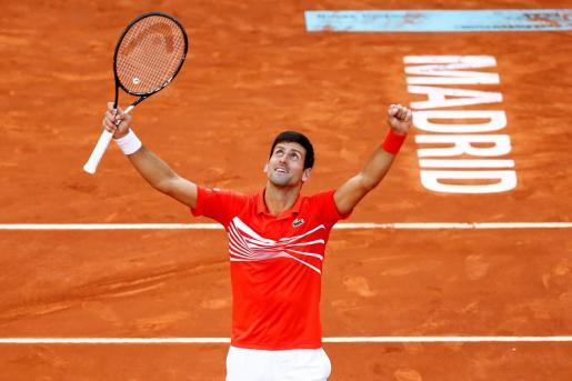 Novak Djokovic celebrando la victoria.