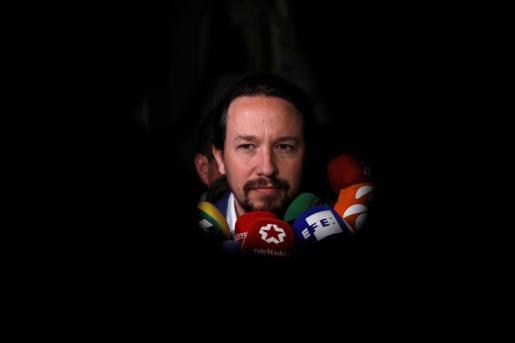 Pablo Iglesias, secretario general de Podemos, durante el desayuno informativo.