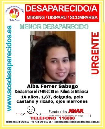 Buscan en Palma a Alba Ferrer Sabugo, desaparecida desde el 27 de abril.