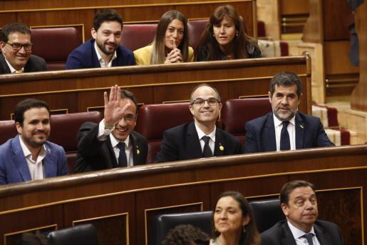 Algunos de los presos políticos, en el Congreso.