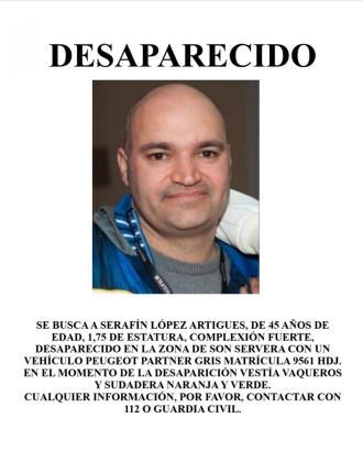 Hombre desaparecido en Son Servera,