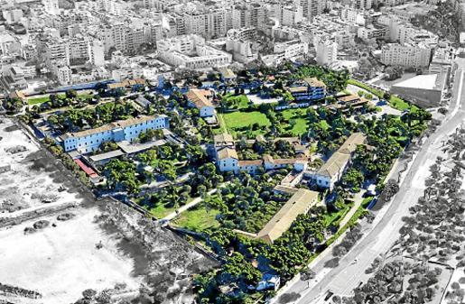 Vista aérea de la parcela del Hospital Psiquiátrico que se convertirá en el Parc Sanitari de Jesús.