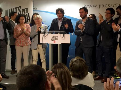 El cabeza de lista de JxCat al Parlamento Europeo, Carles Puigdemont, valora los resultados obtenidos en las elecciones europeas.