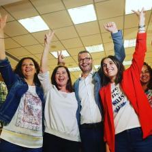 Catalina Cladera, Francina Armengol, José Hila y Alicia Oms celebran los resultados del 26M en la sede del PSIB-PSOE