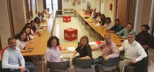 Reunión de la ejecutiva de la Federación Socialista de Mallorca para analizar el resultado de las elecciones.