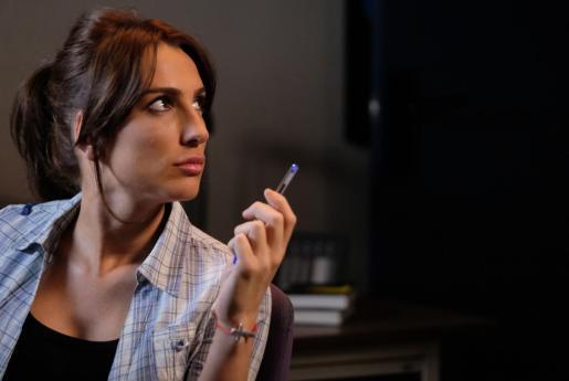 Lara Martorell en el rodaje de 'Servir y proteger'.