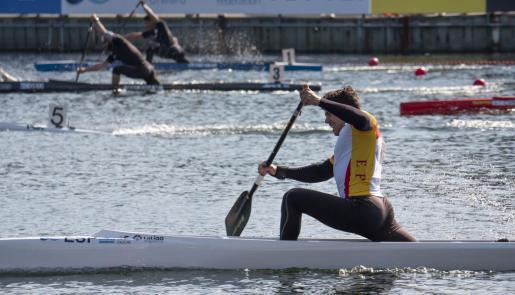 Toni Segura (RCN Port de Pollença), durante su serie de C1 200 metros.