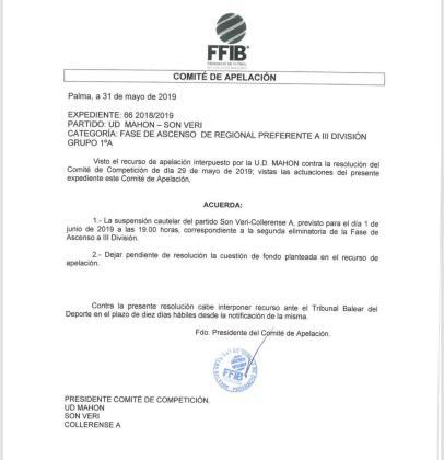 Imagen de la resolución del Comité de Apelación de la FFIB.
