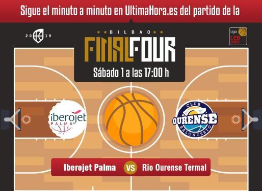 El Iberojet Palma y Río Ourense Termal disputan la primera semifinal de la Final Four de ascenso a la Liga ACB que se juega en el Bilbao Arena.