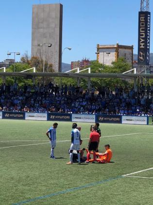 Imagen de los últimos minutos del partido disputado en Son Malferit entre el Atlético Baleares y el Racing.