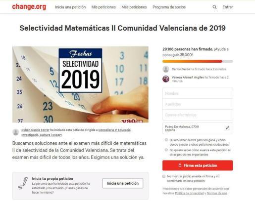 Imagen de la campaña iniciada en change.org.