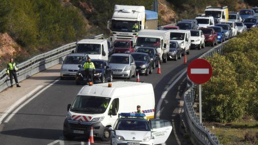 Una atasco en una de las vías de Mallorca.