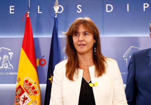 La diputada de JxCat en el Congreso Laura Borràs en rueda de prensa, tras la reunión que ha mantenido con Felipe VI.