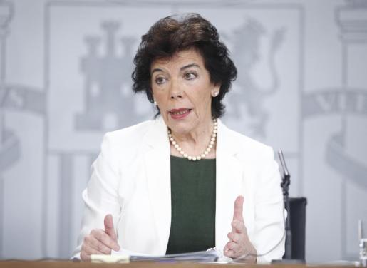 Isabel Celaá, portavoz del Gobierno en funciones, tras el Consejo de Ministros.