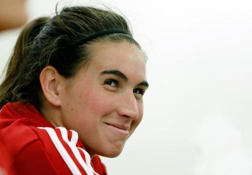 La jugadora mallorquina de la selección española, Mariona Caldentey, durante la rueda de prensa previa.