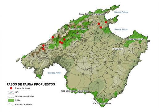 Localización de los pasos de fauna propuestos.
