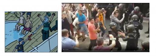 A la izquierda, la imagen del cómic que hace una sátira sobre la escena real en la que dos agentes se apuntan por error.