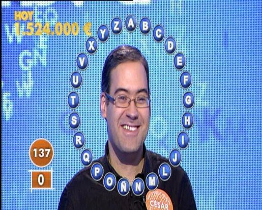 César Garrido, concursante de 'Pasapalabra', ha ganado 1,5 millones de euros en el concurso.