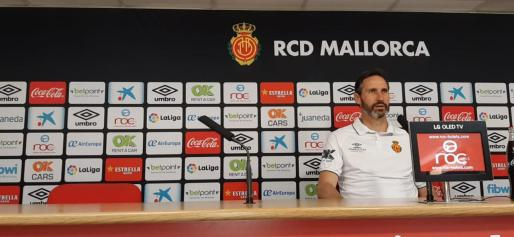 Vicente Moreno, en una imagen captada en la rueda de prensa previa al encuentro ante el Albacete.