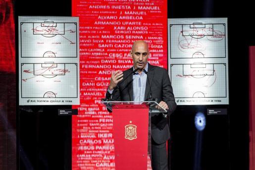 El presidente de la RFEF, Luis Rubiales, en una reciente comparecencia.