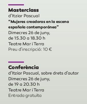 Cartel de la masterclass y la conferencia protagonizada por la dramaturga madrileña Itziar Pascual.