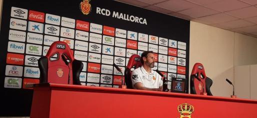 El entrenador del Real Mallorca en la comparecencia de esta jornada en Son Moix.
