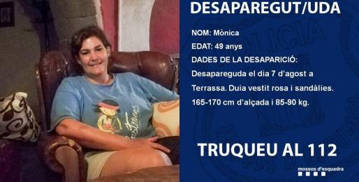 Cartel de búsqueda de Mònica Borràs desparecida en 2018.