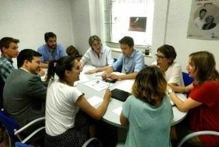 Direcciones de grupos municipal y autonómico de Más Madrid, reunidos para coordinarse ante la alianza PP, Ciudadanos y Vox.